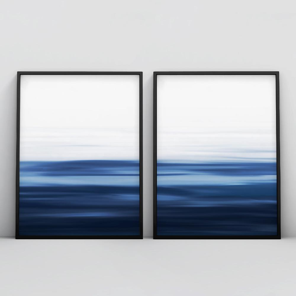 Minimalistic Ocean Painting 2 Piece Poster Set Set of 2 Prints - Timiko Studio