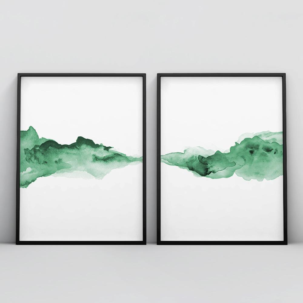 Abstract Green Watercolour 2 Piece Poster Set Set of 2 Prints - Timiko Studio