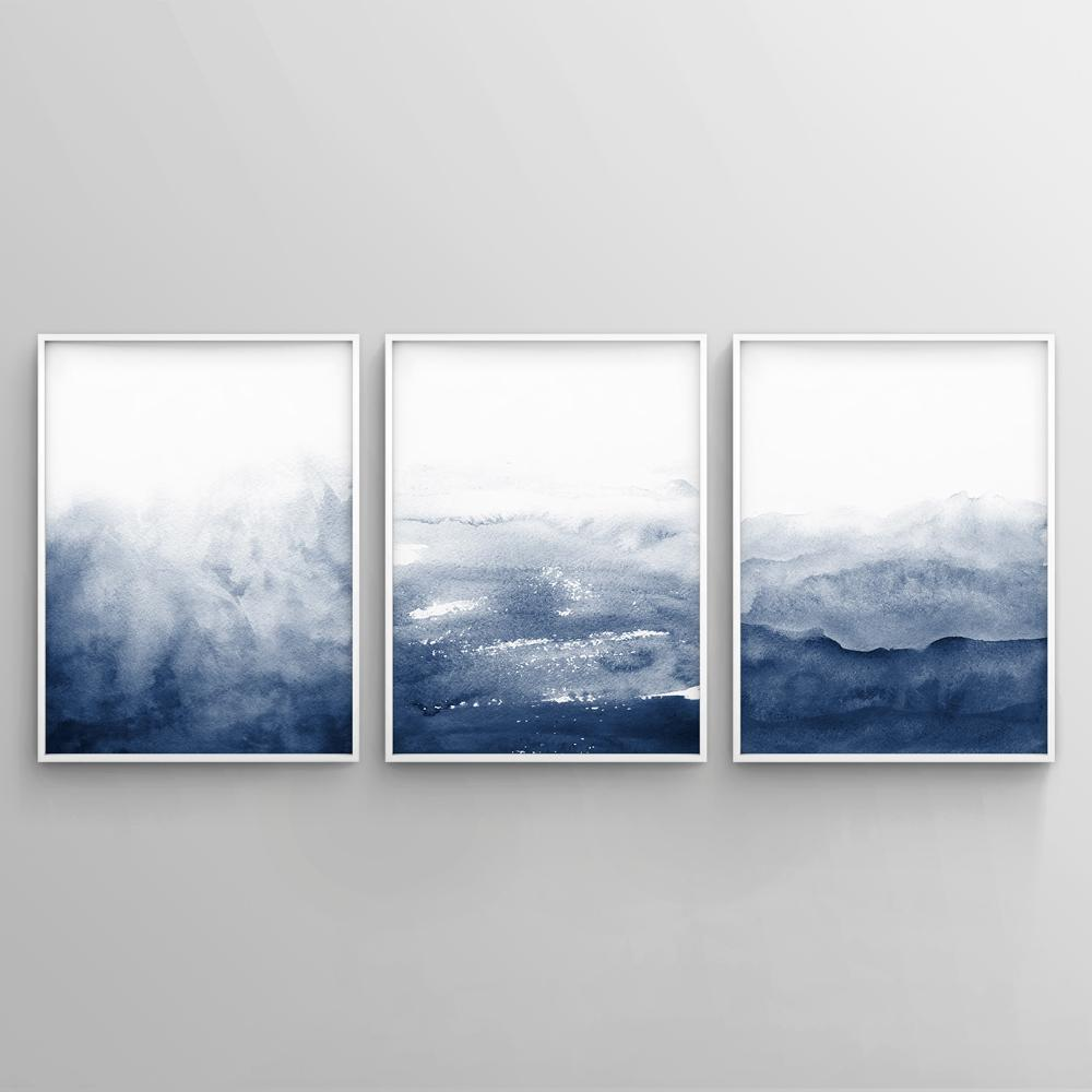 Minimalist Blue Watercolour Painting 2 Paintings - Timiko Studio