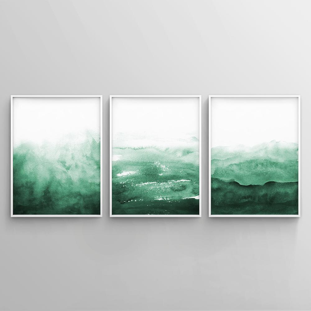 Minimalist Emerald Green Watercolour Painting 3 Paintings - Timiko Studio