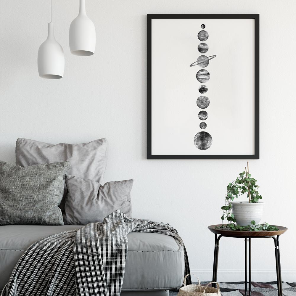 Black and White Minimalistic Solar System Poster Space Prints - Timiko Studio