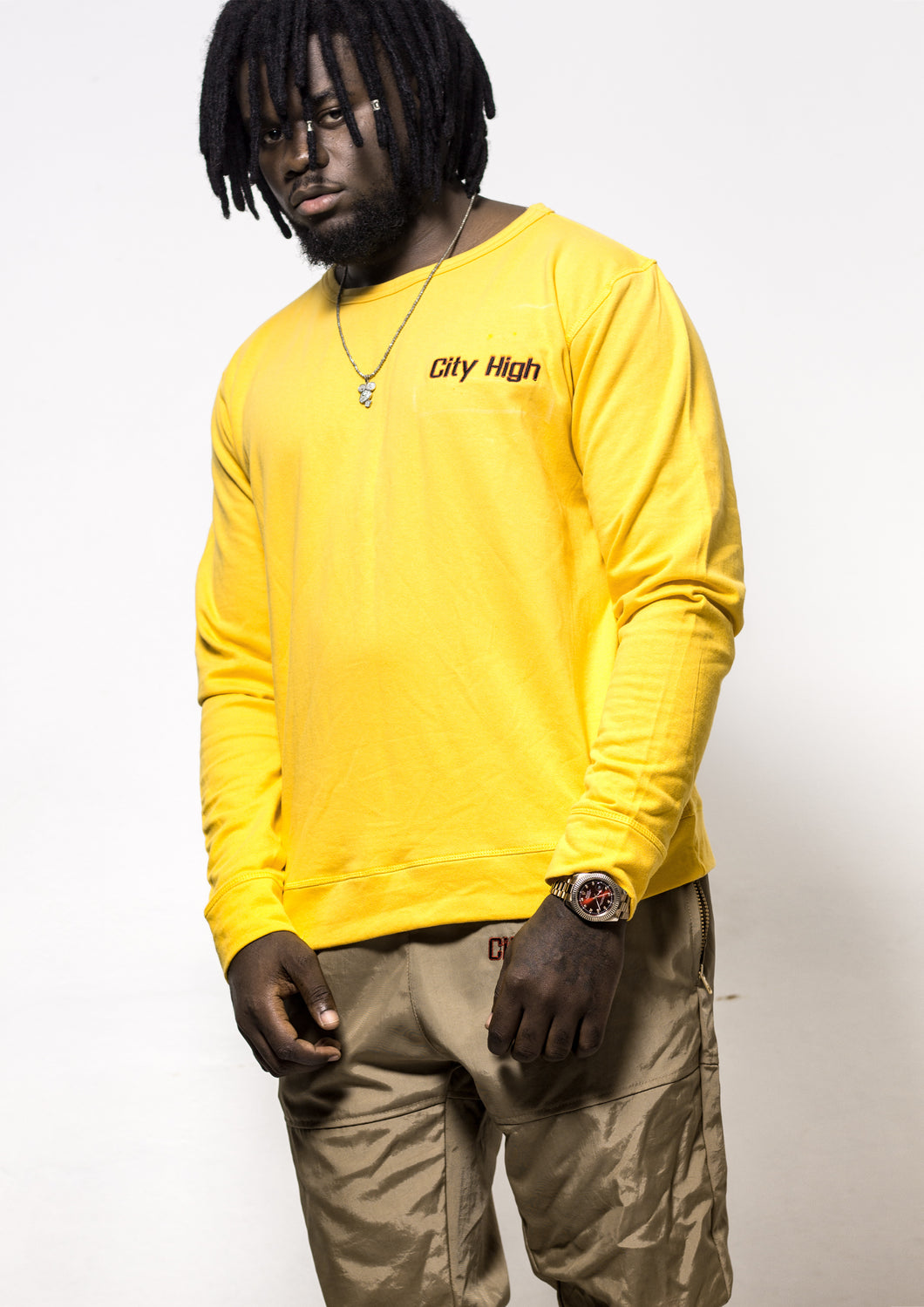 [menswear Mellow-fleece yellow long-sleeve top] - City High