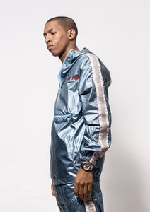 [menswear Blue-Flame hooded windbreaker half-zip jacket] - City High
