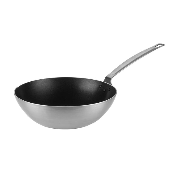 Aluminium Non-Stick Wok Pan Ø24cm x 7,6cm - Uk Catering Equipments