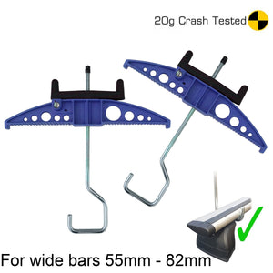 Easy-Clamp Ladder Clamps - (Wide Hook Version for Extra Wide Roof Bars) Blue