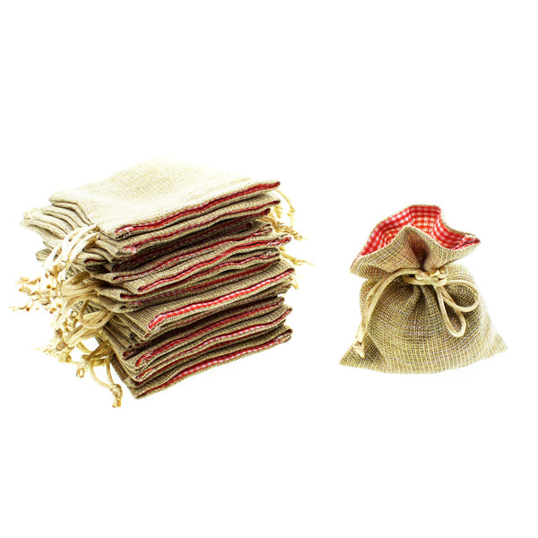 Gold Linen Bags with Gingham Checker Opening Favor Bags