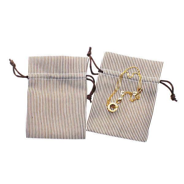 Linen and Bags Cotton Pinstripe Favor Bags Linen and Bags Cotton Pinstripe Favor Double Drawstrings Bags for Jewelry, Beads Keepsakes Party Favor Bag (Chocolate Brown, 4x6)