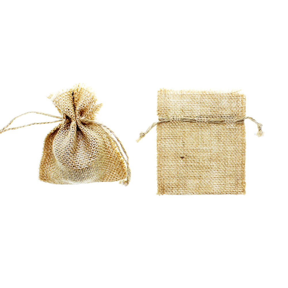 Rough Burlap with Jute Drawstring Favor Bags