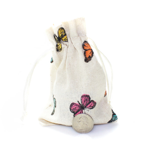 Linen and Bags Butterfly Print Shape Linen Bags (4x6)