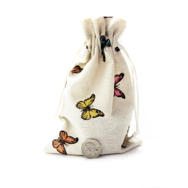 Linen and Bags Butterfly Print Shape Linen Bags (5x8)