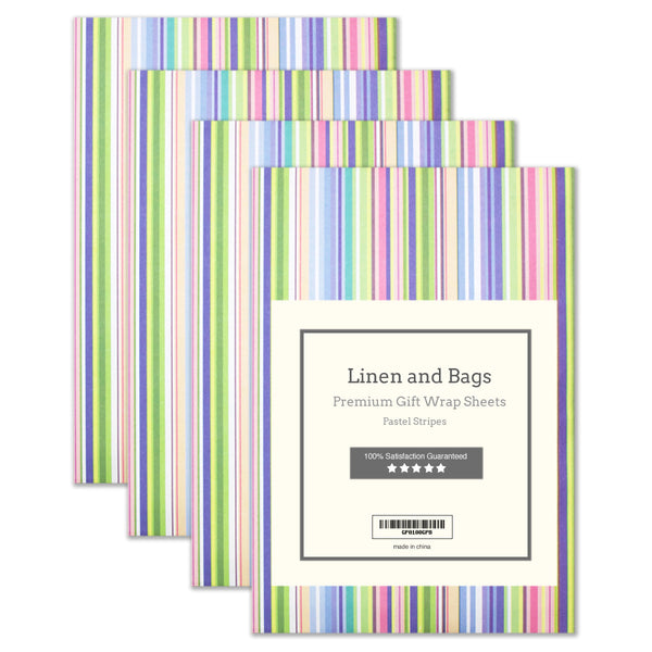 "Premium Striped Wrapping Paper Gift Sheets 20"" x 28"""