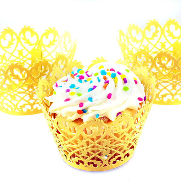 Linen and Bags 120 Piece Ornate Lattice Designs Decorative Cupcake Liners Party Cupcake Wrappers (Gold)