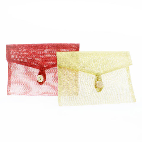 Organza Gift Envelope Bag with Closeable Flaps and Wood Button
