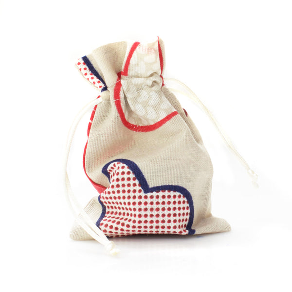 Linen Heart Print Favor Bags (25 Pack)