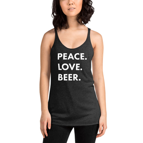 PEACE.LOVE.BEER. Stacked Logo- Women's Racerback Tank
