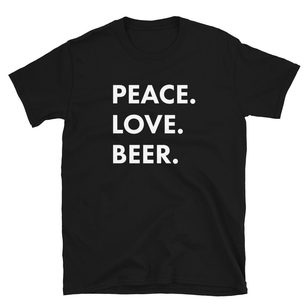 Peace.Love.Beer. Stacked Logo Black Tee