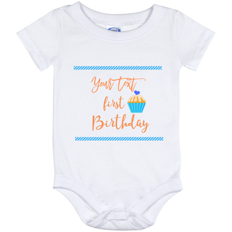 Onesie White-First Birthday Blue personalize