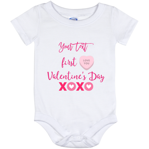 Onesie White-First Valentine's Day personalize