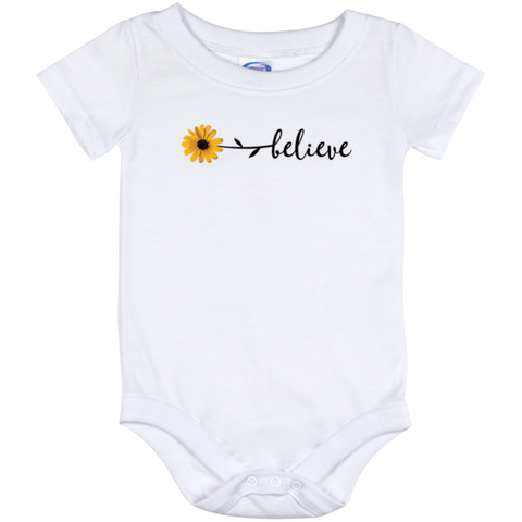 Onesie White-Flower Believe