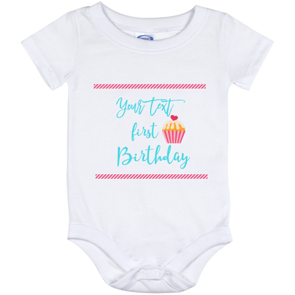 Onesie White-First Birthday Pink Personalize