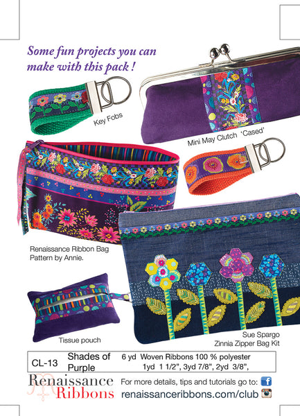 Cl-13 Ribbon Club shades of purples What to do with ribbons