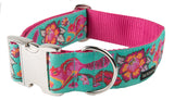 Dog collar with a Tula Pink Chipper ribbon