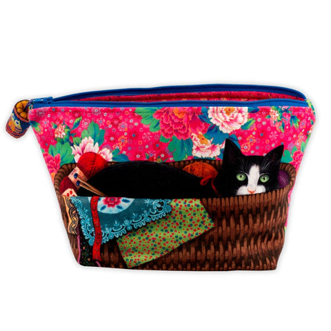 Sewing Case Kit with Hercule sitting in a work basket