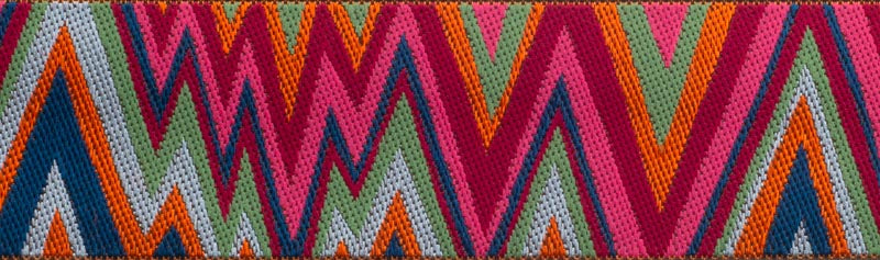 Flame Stitch Pink Red Navy Ribbon by Kaffe Fassett