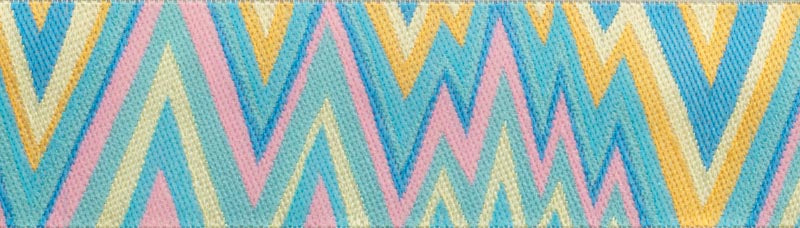 Flame Stitch Aqua, Yellow ribbon by Kaffe Fassett