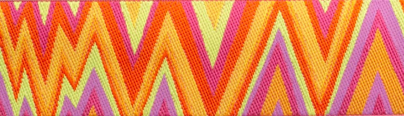Flame Stitch Orange Pink Lime Ribbon by Kaffe Fassett