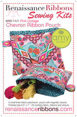 Ribbon Chevron Pouch Free Tutorial complete sewing kit