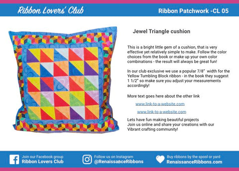 CL-05 Kaffe Fassett Patchwork Ribbon Club sewing projects