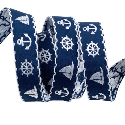 "White Nautical on Blue - 7/8"" - by the yard"
