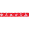 "White Nautical on Red - 7/8"" - by the yard"