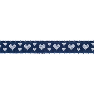 "Hearts on Navy - 3/4""- by the yard"
