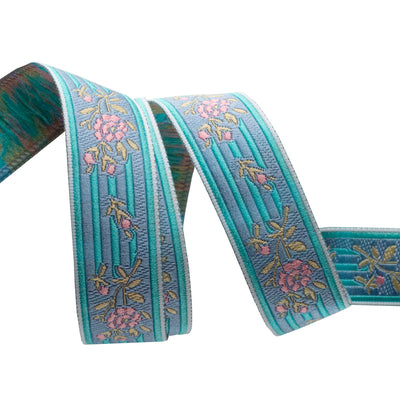 "Pink floral on turquoise stripes - 7/8"" - by the yard"