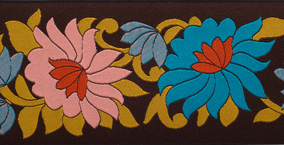 "Wide Flowers on Brown - 2-1/2"" - by the yard"