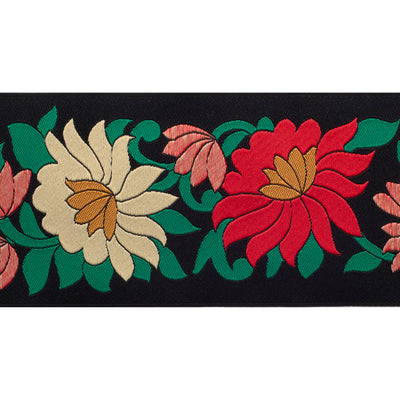 "Wide Flowers on Black - 2-1/2"" - by the yard"