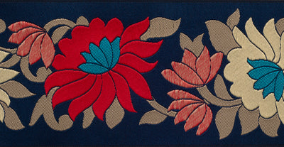 "Wide Flowers on Navy - 2-1/2"" - by the yard"