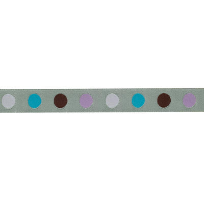 Purple ,blue, brown and pale pink dots on chartreuse - 5/8""