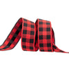 "Gingham Red and Black-7/8""-by the yard"