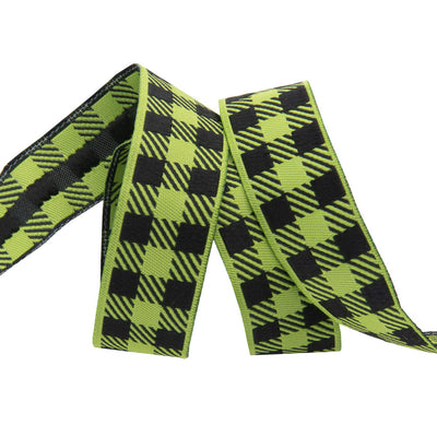 "Gingham Apple Green and Black-7/8""-by the yard"
