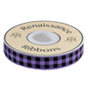 "Gingham Purple and Black-7/8""-by the yard"