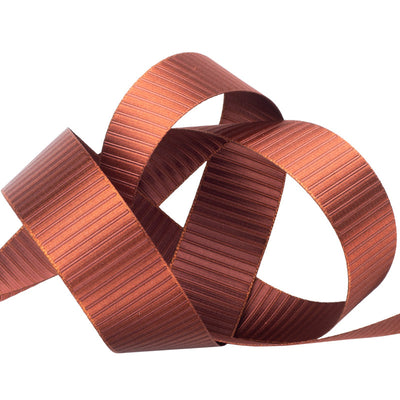 Reversible satin strips brown on brown