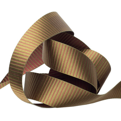 Reversible satin stripes green on brown