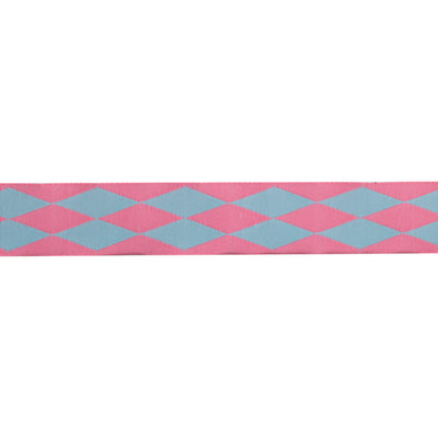 "Harlequin pink/blue - 7/8"" - by the yard"