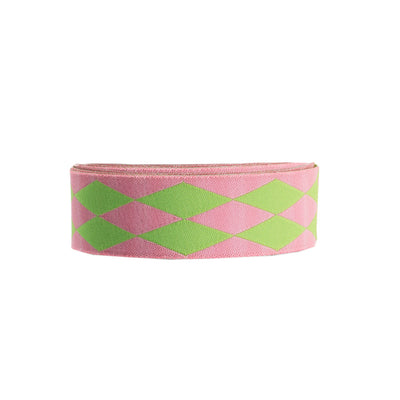 "Harlequin pink/green - 7/8"" - by the yard"