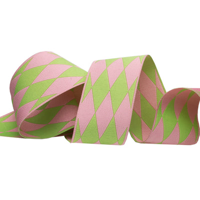 "Harlequin pink/green - 1 1/2"" - by the yard"