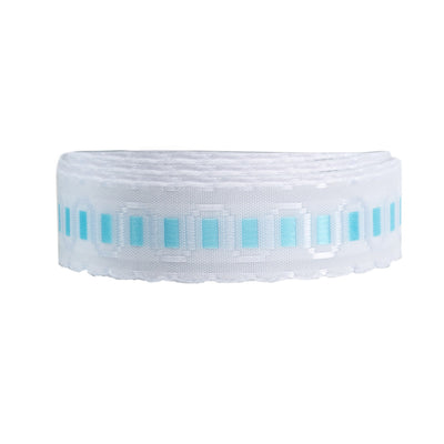 "Faux lace blue on white - 5/8"" - by the yard"