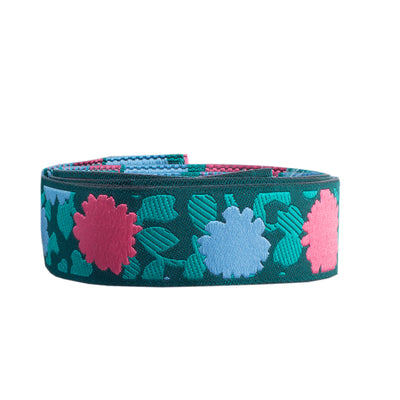 "Coral & Blue Simply Bold Floral  - 7/8"" -by the yard"
